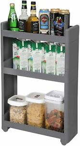 Slim Narrow Storage Shelf Kitchen Bathroom Side Tower Trolley Modern Furniture
