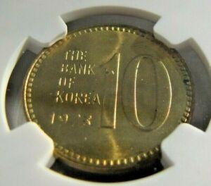 South Korea KM6a 10 Won 1973 NGC MS 65.  Gem brilliant original !
