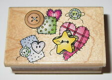 Buttons Patches Sewing Rubber Stamp Hero Arts Hearts Star Wood Mounted C1159