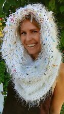 Hoodware Scarf-Cowl Infinity Neck Warmer Hooded abominable snowman fluffy white
