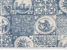 Dekostoff, Kacheloptik, Delft, blau-weiß, 140cm