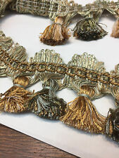Green Antique Gold 25 yard roll Trim with small tassels