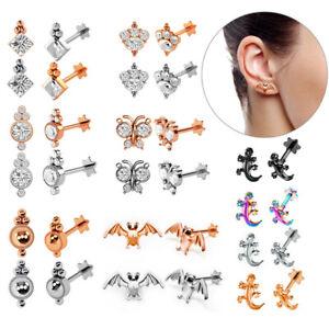 Cartilage Tragus Helix Ear Stud, Crystal Earring, Internally Threaded Gem Labret