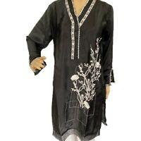 Women Indian Kurti Pakistani Kurta Black Silk Embroidered Lace Long Tunic Top