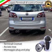 COPPIA TERMINALI DI SCARICO PER MARMITTA FINALINO CROMATO INOX VW GOLF PLUS