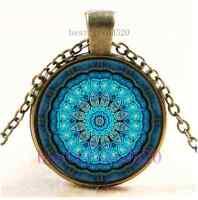 Vintage Mandala Photo Cabochon Glass Bronze Chain Pendant Necklace