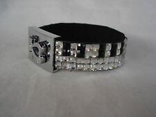 PIANO Music Bracelet  4 Rows Black/Clear Crystals Great Gift Brand NEW