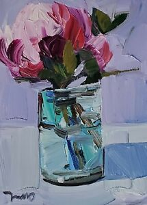 JOSE TRUJILLO Oil Painting IMPRESSIONISM Collectible STILL LIFE PINK FLOWERS NR