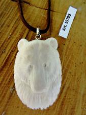 Ciondolo laccio OSSO inciso a mano ORSO POLARE Natura Canada Polar Bear Pendant