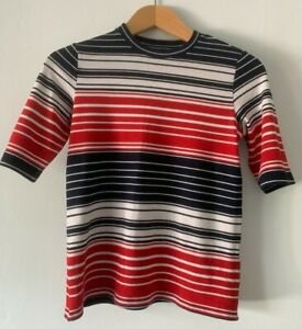 Fabulous Topshop Red/White/Blue striped jersey feel T-shirt Size 12
