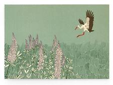 """Illustrierte Postkarte """"Storch"""" (DIN A6, Rückseite unbedruckt) – zur Geburt"""