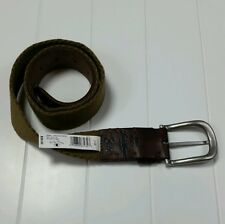 Lucky Brand Belt Canvas Leather Size 34 NWT Tan/Brown LBFO