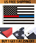 3x5 American Flag Blue Red Thin Line Honoring Law Enforcement Police Firefighte