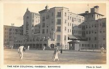 "Nassau Bahamas ""Hotel New Colonial"" Tennis Courts Photo by Sands RPPC Postcard"