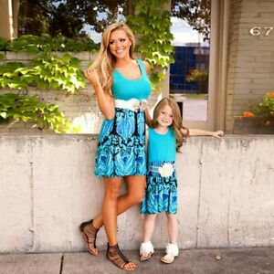 Mother Daughter Clothes Printing Parent-child Family Outfits Summer Beach Dress