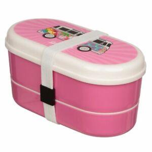 Official Volkswagen VW T1 Camper Bus Summer Love Pink Bento Box Lunch Set