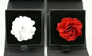 Nordstrom Mens Shop Lot Of 2 Red & White Flower Lapel Pin Display Box 1.25 In