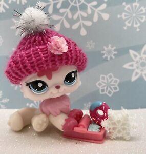 Authentic Littlest Pet Shop # 2532 Pink Rose Flower Persian Cat Blue Eyes