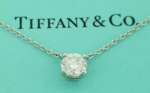 "Tiffany & Co. 0.71 ct Round Solitaire Diamond Pendant 16"" Platinum Necklace"