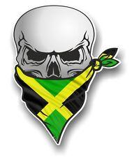 Crâne Avec Visage Bandana & Jamaïque Jamaïcain Pays Drapeau Vinyle Autocollant Voiture Décalque
