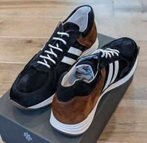 $495 Mens Eleventy Leather/Suede Runner Sneakers Navy/Brown 43 US 10