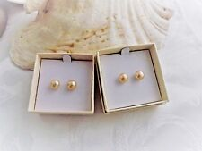 Honora 8MM CHAMPAGNE  Button PEARL Earrings WITH HAPPY BACKS  NIB SURGICAL STEEL