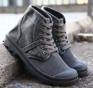 Mens Ankle Boot Round Toe Lace Up Retro Shoe Fashion Flats Shoes British Outdoor