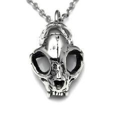 Handmade Cat Skull Pendant Necklace in Pewter, Animal Skull Jewelry