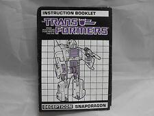 TRANSFORMERS GENERATION 1, G1 DECEPTICON SNAPDRAGON INSTRUCTIONS