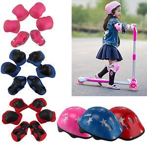 7Pcs/Set Boys & Girls Kids Skate Cycling Bike Safety Helmet Knee Elbow Pads