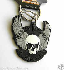 Harley Davidson Motorcycles Skull Wings Rubberized Key Ring Keychain Chain 2' in