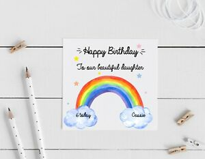 Personalised Rainbow Birthday card, daughter, granddaughter, friend, 1st, 5th,