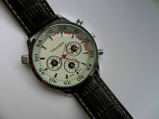 Very Smart White Faced Quartz Watch and Brown Strap