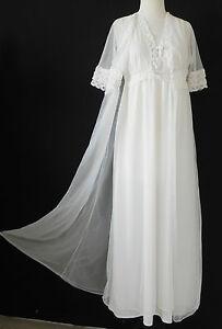 Vtg Wilmot Night Gown/Robe Set Chiffon Ivory  Full Length Lace Trim Size S