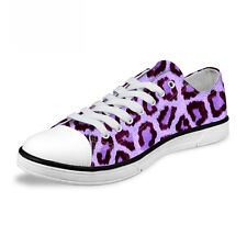 Cool Leopard Women's Lady's Low Top Casual Lace up Canvas Shoes Sport Sneakers