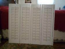 "CustomShutters Plantation White Wood 29.75"" H x 34"" Total Width 4 Panels & Mount"