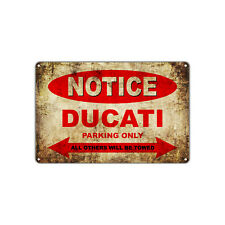 DUCATI Motorcycles Parking Sign Vintage Retro Metal Decor Art Shop Man Cave Bar