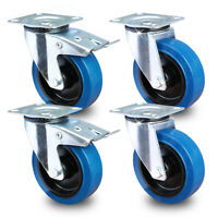 4 St/ück 125mm Blue Wheels Lenkrollen mit Feststellbremse//Bremse FS Transportrollen Blau 200kg 4x Brems INDUSTRIEQALIT/ÄT Rad