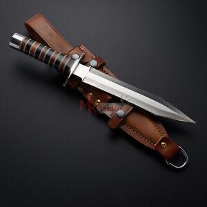 Custom handmade D2 Steel Dagger knife with leather sheath l wedding gift l