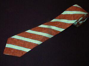 Kiton Tie Seven Fold 7 Napoli Brown Sky Blue Stripe Skinny Thin Slim Necktie Men