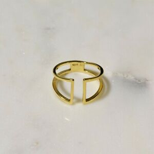 Ladies Ring Real 925 Sterling Silver Gold Plated Open Band Adjustable Ring