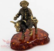 Brass Amber figurine Sancho Panza on Donkey helper of the Don Quixote IronWork