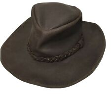 Henschel Hat HH Brown LARGE Distressed Leather Outback Cowboy Hat