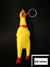 "6"" Screaming Chicken Key Chain Rubber Pet Dog Toy Squeak Chew Sound Shrilling"