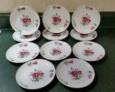 Wentworth China Japan 7522 Valencia, Eternal Shape,  11 Bread Plates, Pink Roses