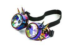 Rainbow Kaleidoscopic Glass Lens Goggles Punk Goth Burning man Rave USA