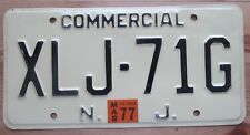 New Jersey 1977 COMMERCIAL License Plate NICE QUALITY # XLJ-71G