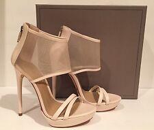 BCBG Max Azria Ferned Sandals Heel Leather Mesh Natural 7.5 M/37.5 $275