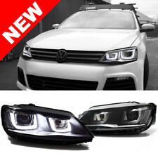 2011+ VW JETTA MK6 SEDAN BLACK BI-XENON PROJECTOR HEADLIGHTS W/ MK7 LOOK LED DRL