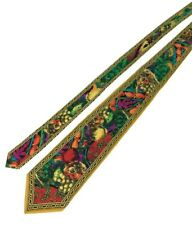 WILD Vitaliano Pancaldi 100% Silk Gold/Red/Purple/Green Abstract Floral Tie Mens
